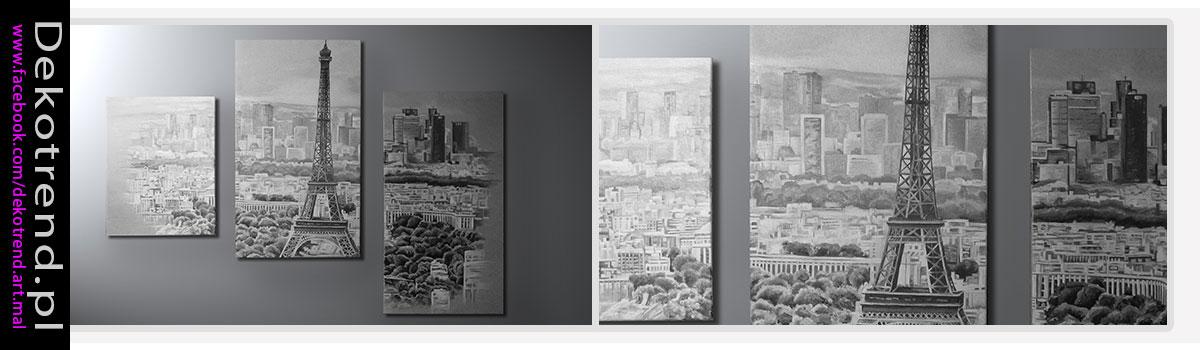 Obraz tryptyk- czarno biały widok Paryża.