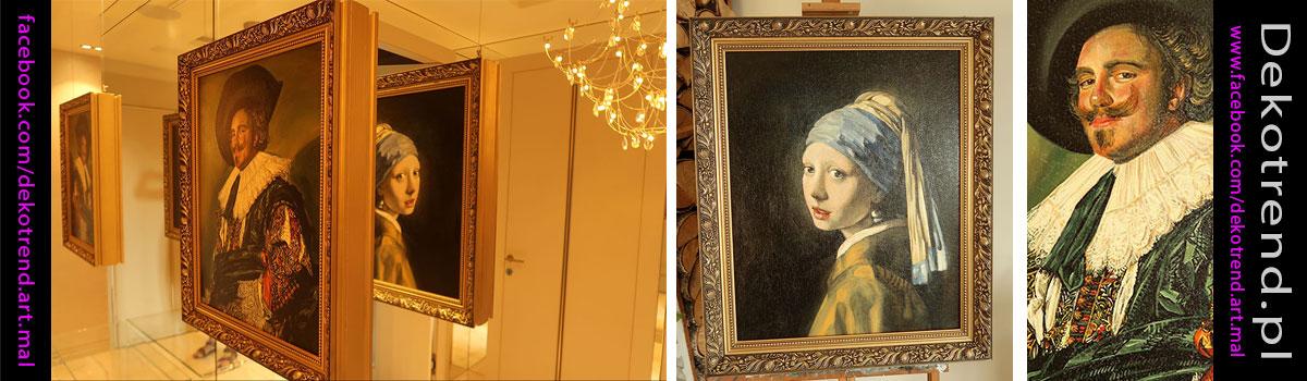 Obrazy Dziewczyna z perłą – Johannes Vermeer oraz Laughing Cavalier – Frans Hals.